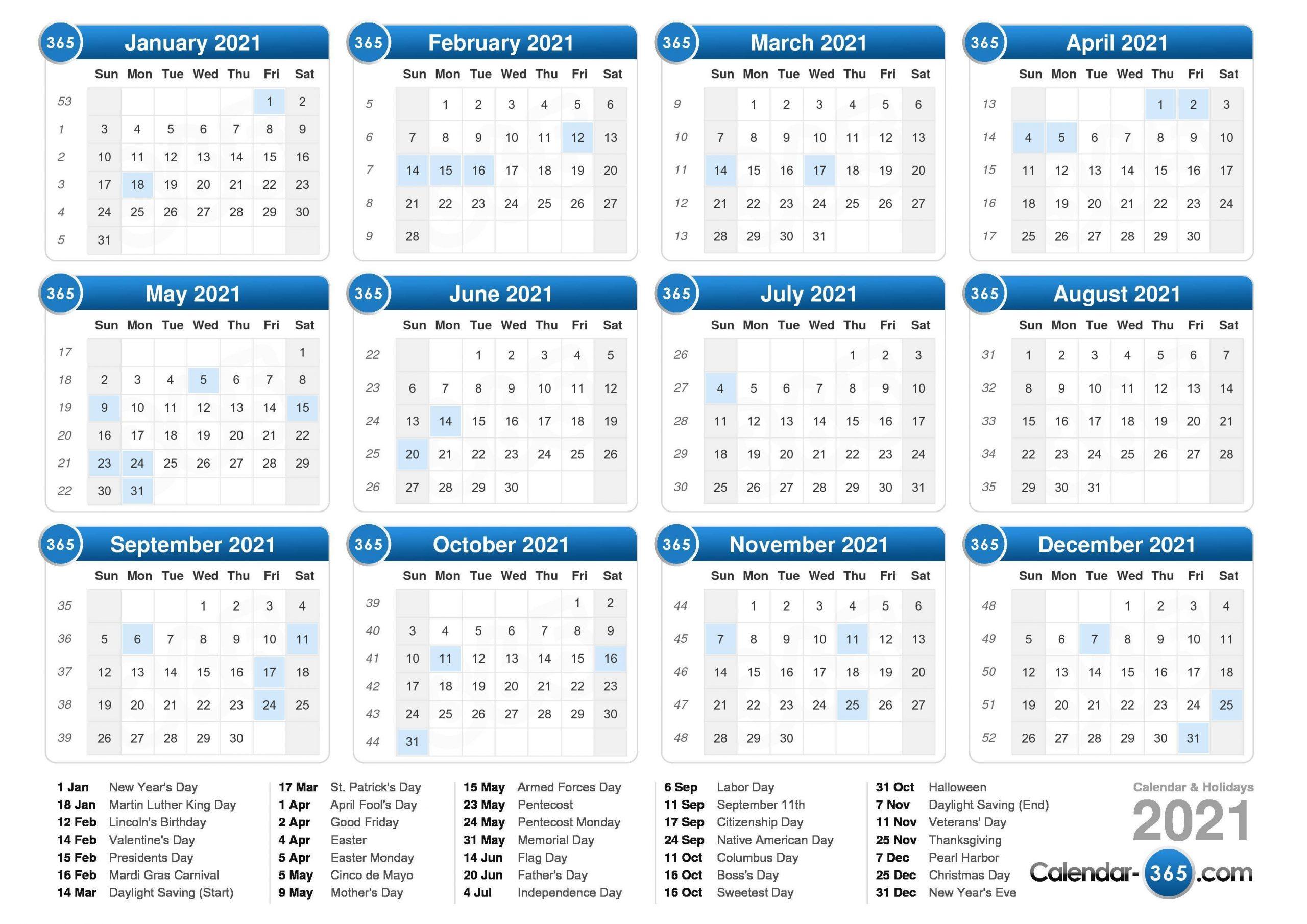 2021 Calendar 2 Week Calendar March