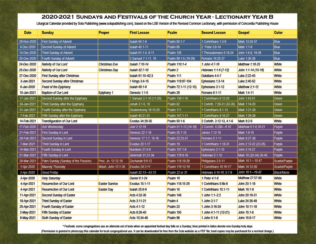 2021 Liturgical Calendar (Year B) K-2021 | Sola Publishing Liturgical Colors Calendar For Methodist