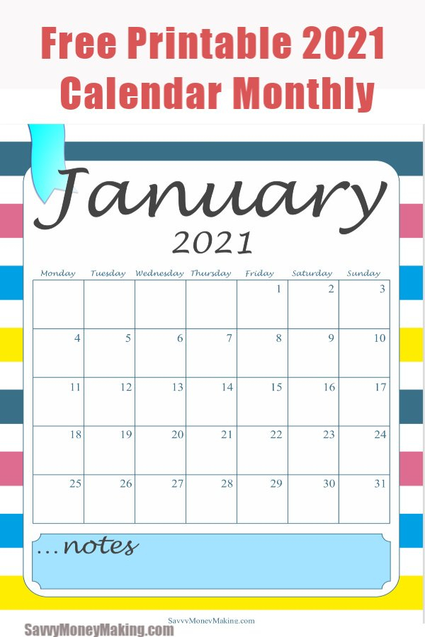 2021 Monthly Calendar Printable - Free Monthly Calendar Image Of Month Calendar
