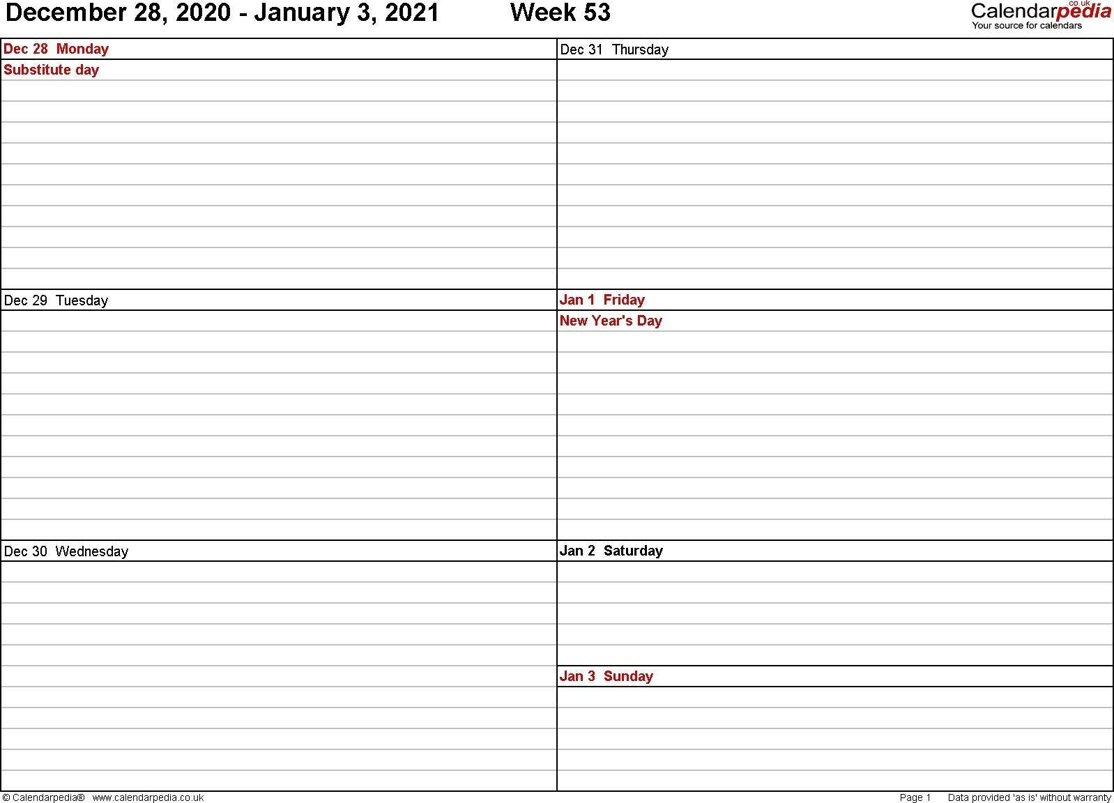 2021 Weekly Calendar Excel Free Di 2020 Free Printable 2 Week Calendar