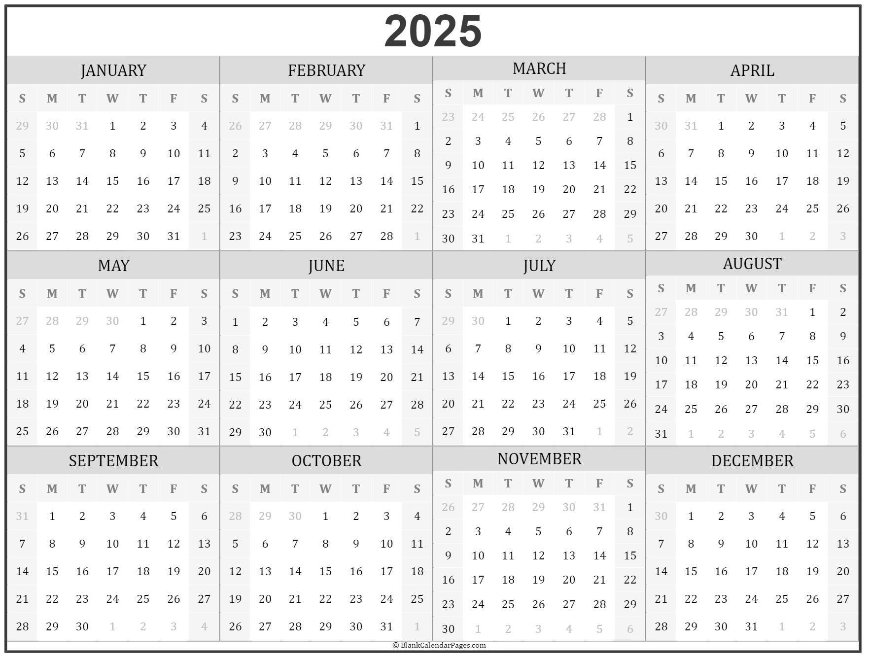 2025 Year Calendar | Yearly Printable Hp Month Calendar Printable