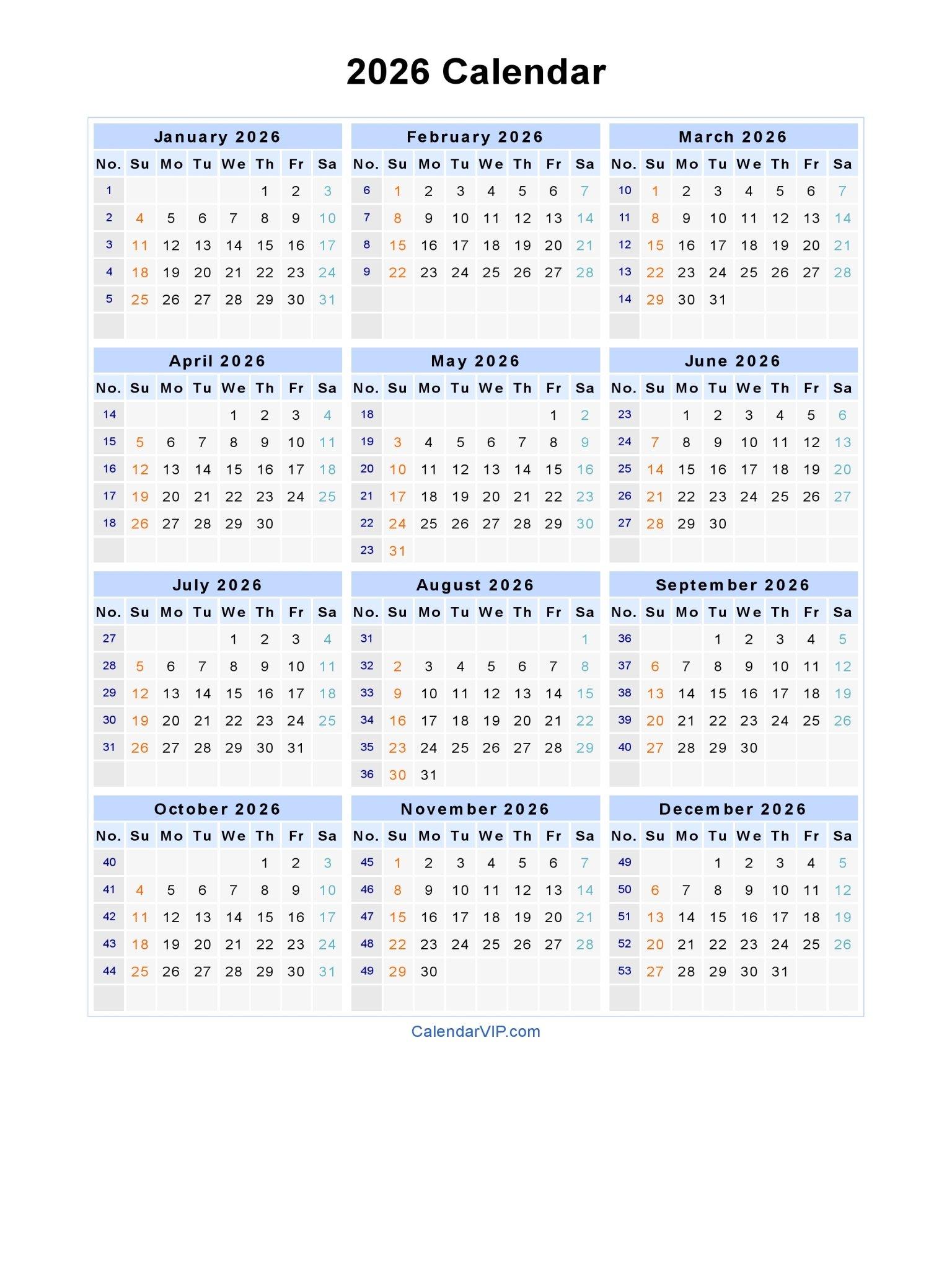 2026 Calendar - Blank Printable Calendar Template In Pdf Blank 30 Day Calendar Starting May 24
