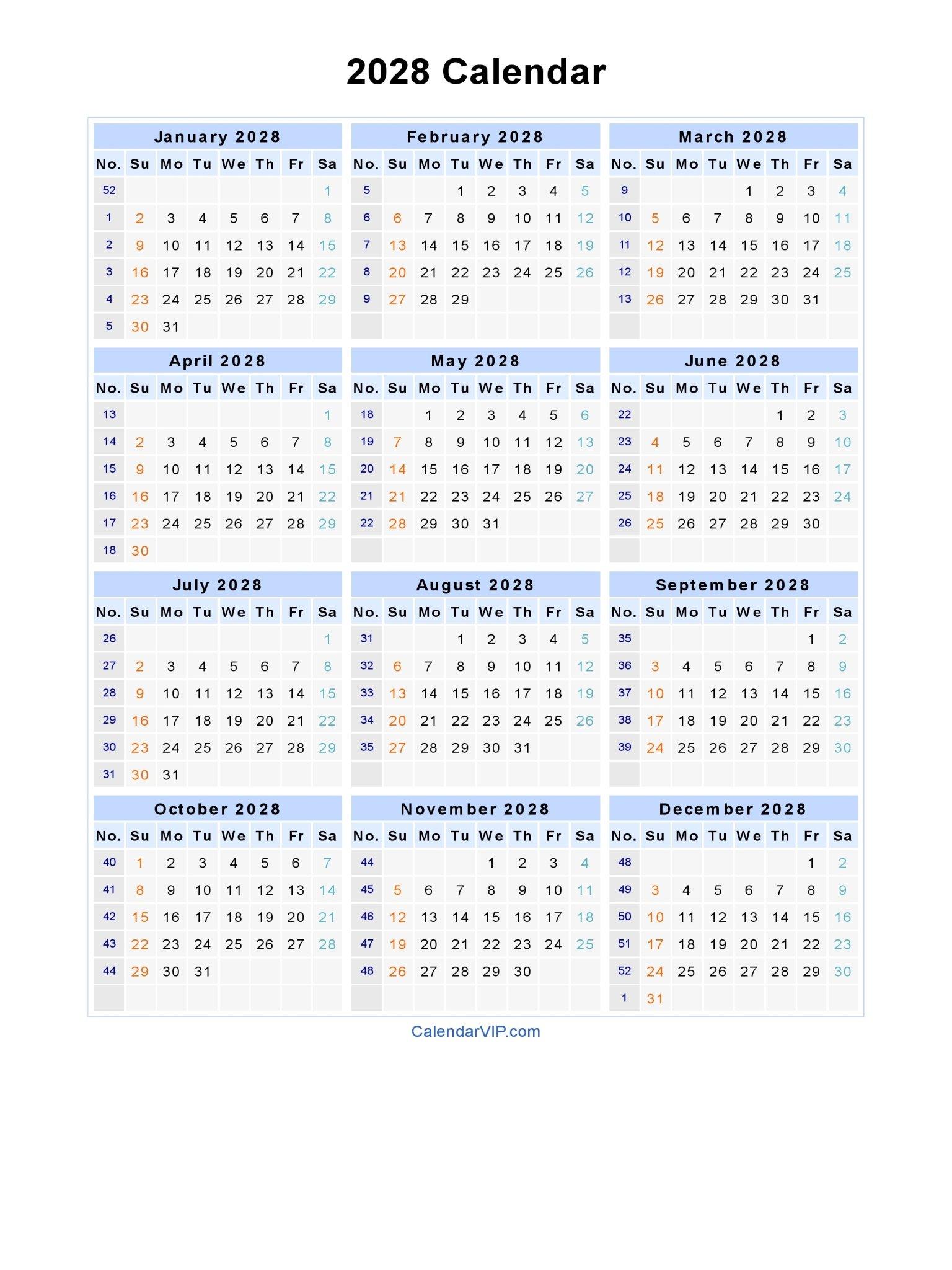 2028 Calendar - Blank Printable Calendar Template In Pdf Free Weekly Numbered 52 Week Calendar Printable