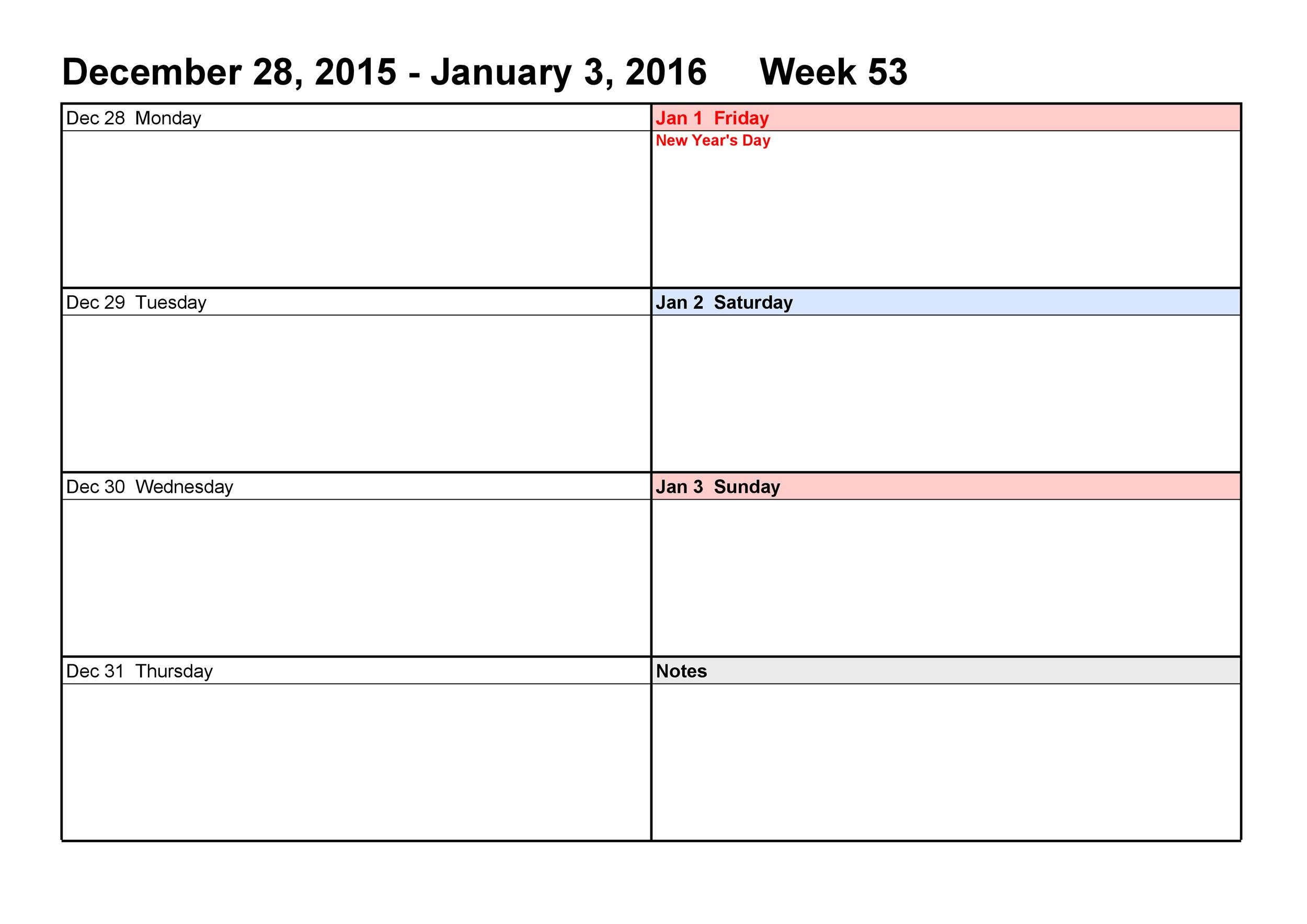 26 Blank Weekly Calendar Templates [Pdf, Excel, Word Printable 2 Week Calendar Templates Starting On Saturday