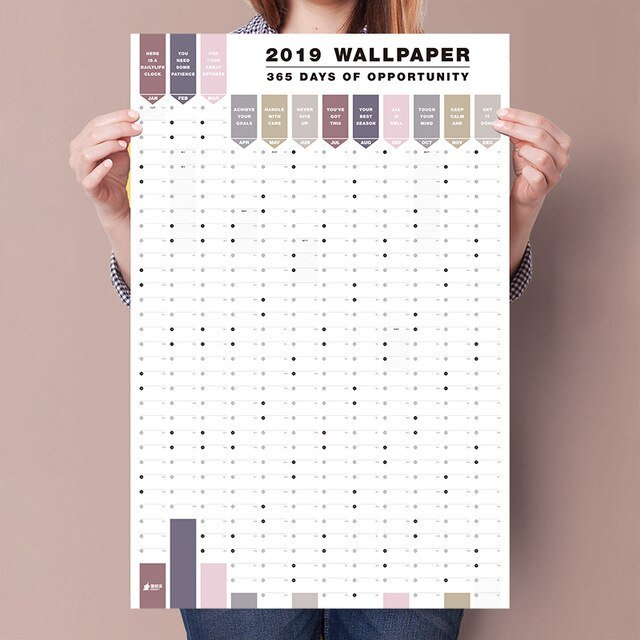 2Pcs/Set 365 Days Wall Calendar 2019 2020 Paper Yearly Calendar Numbered Days 365