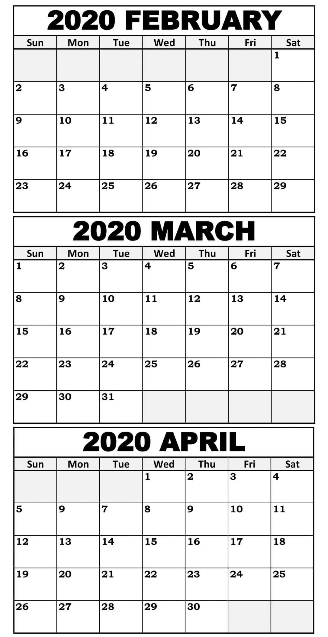3 Month Calendar Printable 2020 | Calendar For Planning 3 Month Free Calendar