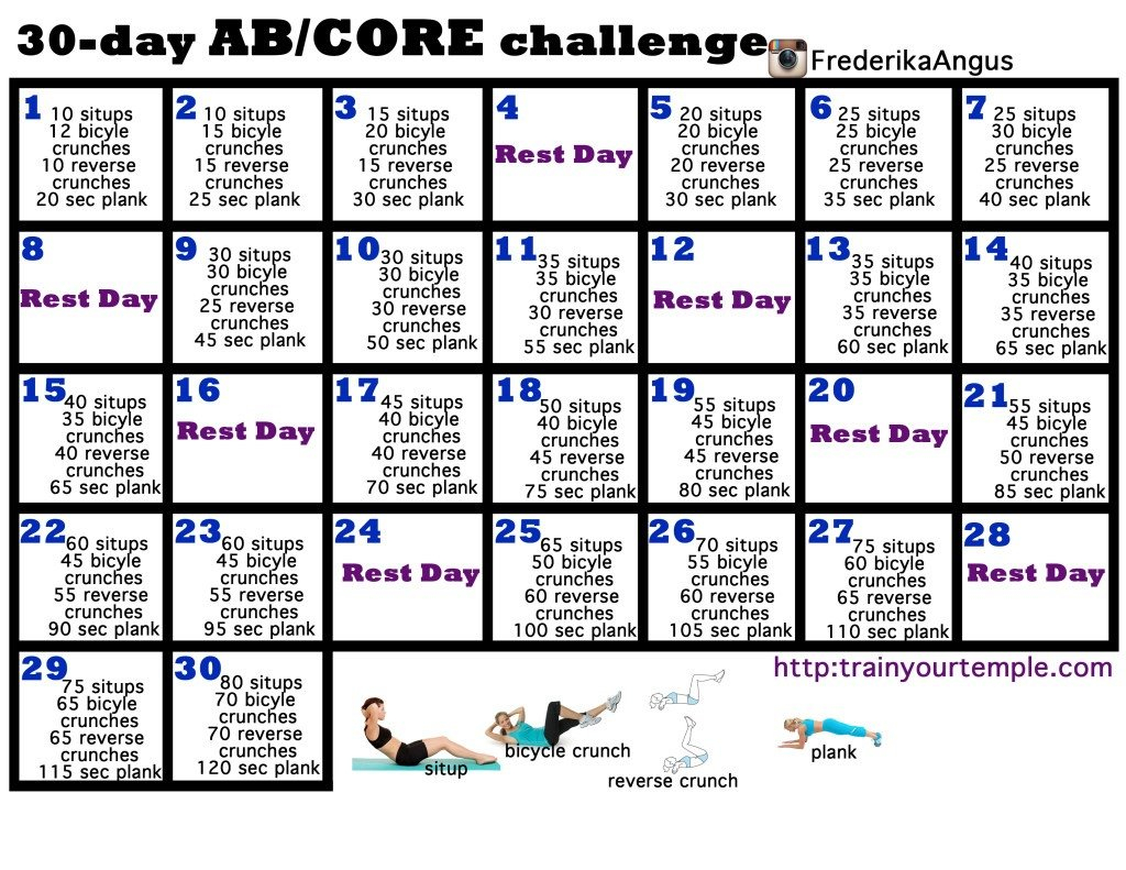 30 Day Core Challengeamanda Lanthier - Musely 30 Day Challenge Printable Calendar