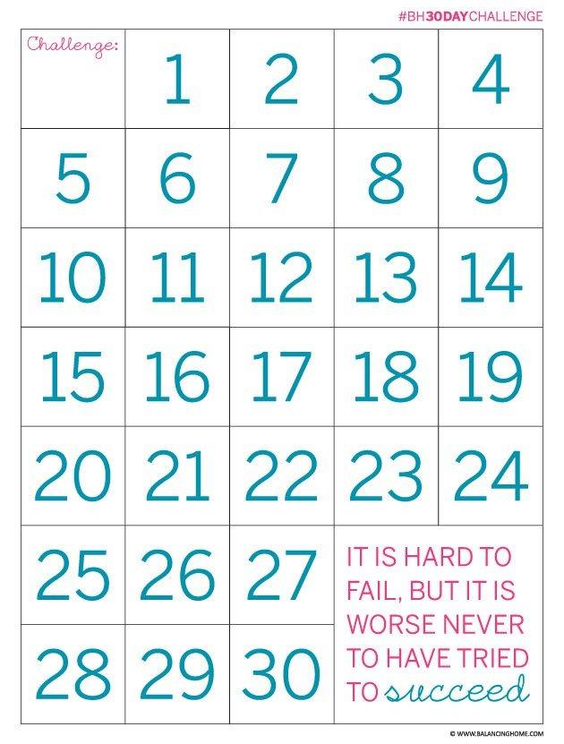 30 Day Countdown Calendar Printable | Printable Calendar 30 Day Shred Countdown Printable Free