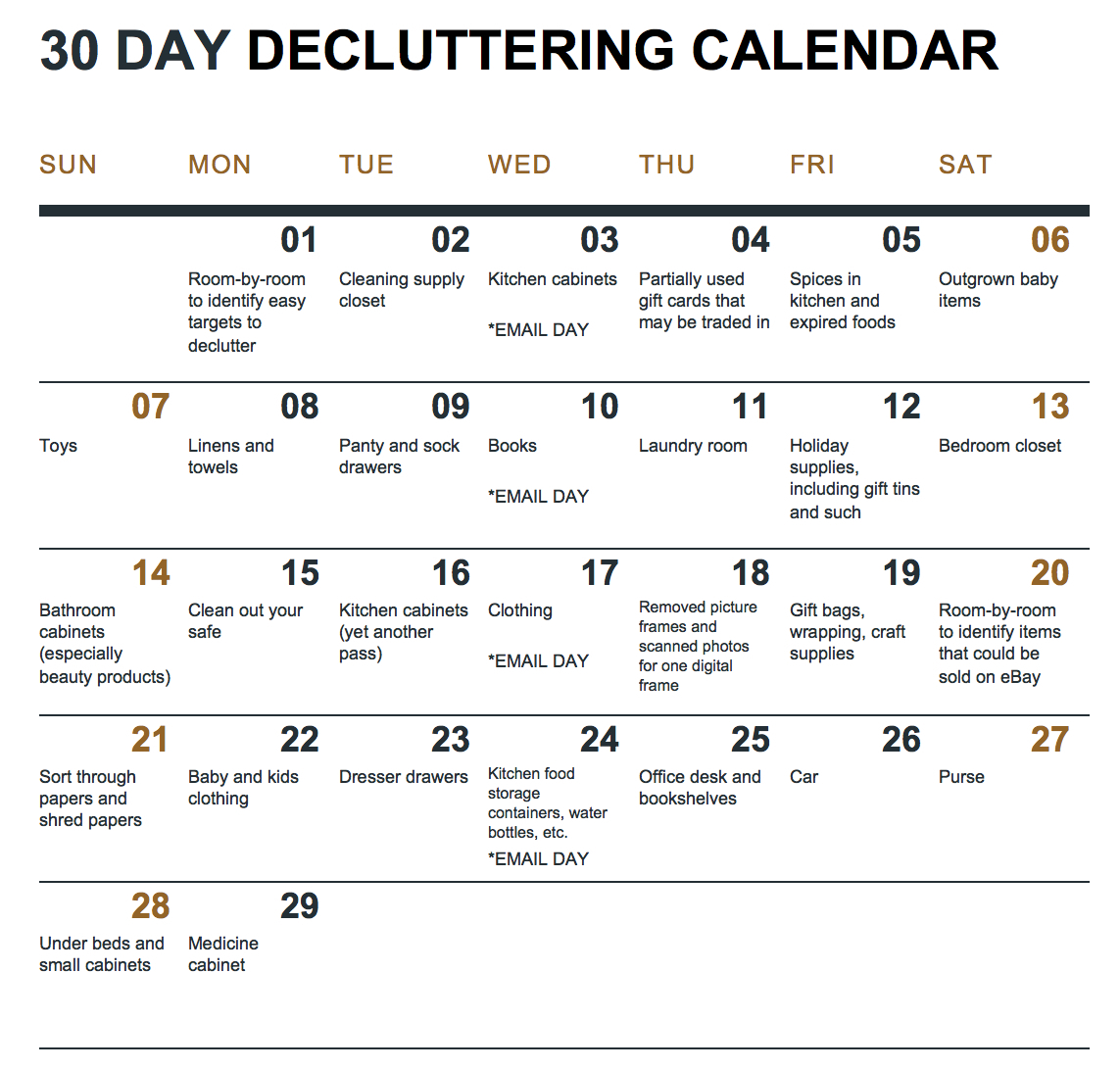 30 Day Declutter Calendar | Example Calendar Printable 30 Day Printable Schedule