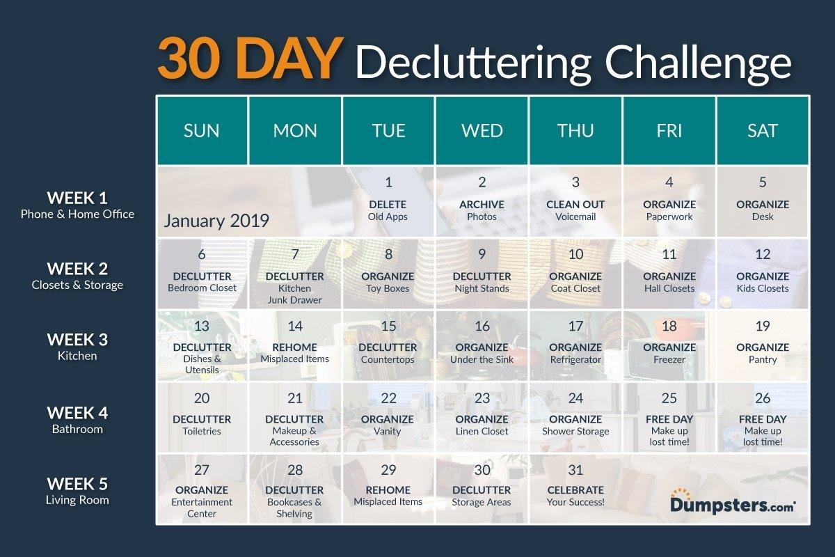 30 Day Declutter Challenge Calendar - Calendar Inspiration Blank 30 Day Caldner Challenge