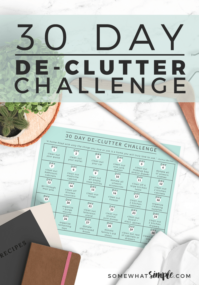30 Day Declutter Challenge Calendar (Free) | Somewhat Simple 30 Day Printable Schedule