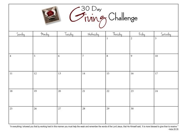 30 Day Giving Challenge: Days 3 - 9 {#30Daygive} - Www Printable Blank 30 Day Calendar