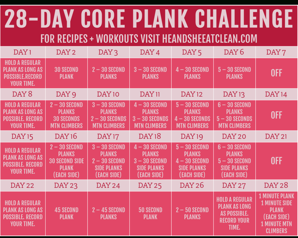 30-Day Plank Challenge 30 Day Plank Challenge Free