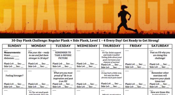 30-Day Plank Challenge | Active Printable Plank Challenge Calendar