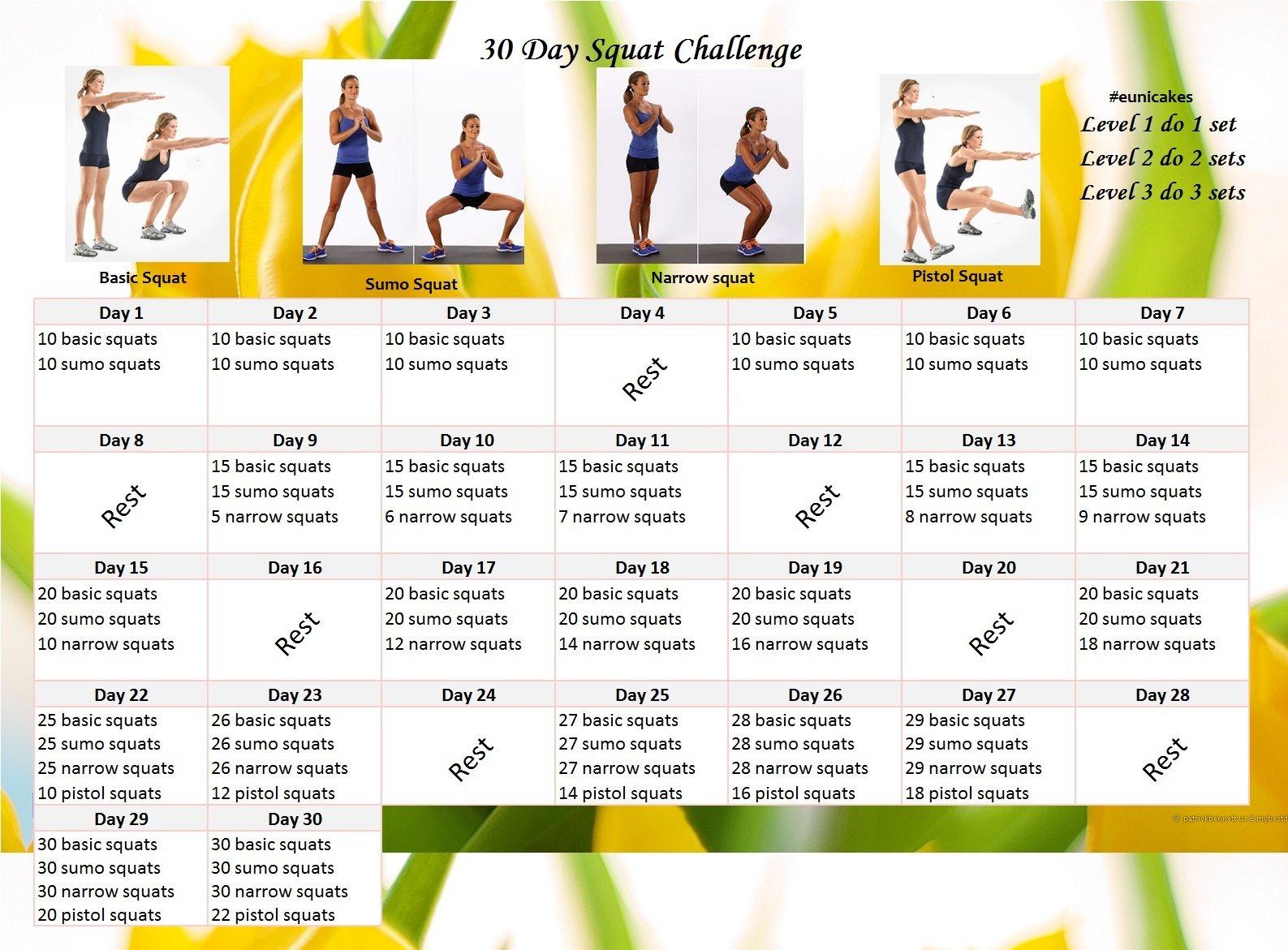 30 Day Plank Challenge | Eunicakes 30 Day Plank Challenge Calendar Printable