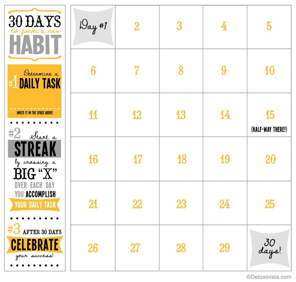 30-Day Printable Calendar | Detoxinista Day To Day Calendar Template