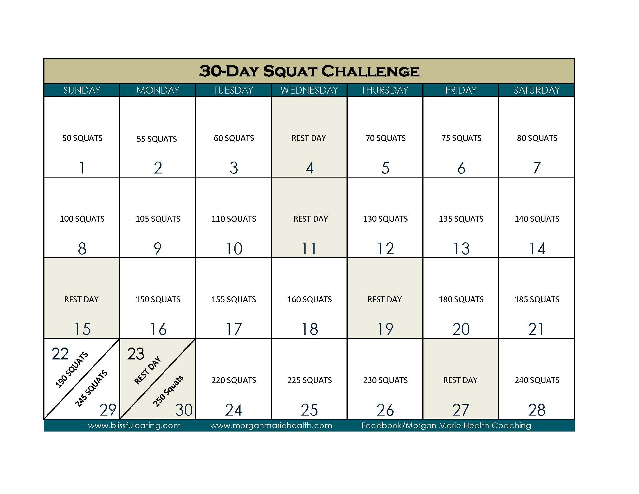 30-Day Squat Challenge – Blissful Eating 30 Day Calendar Template