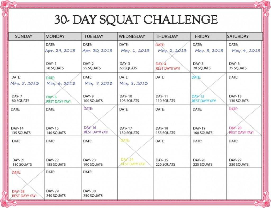 30 Day Squat Challenge Calendar – Calendar Template 2020 Blank 30 Day Caldner Challenge