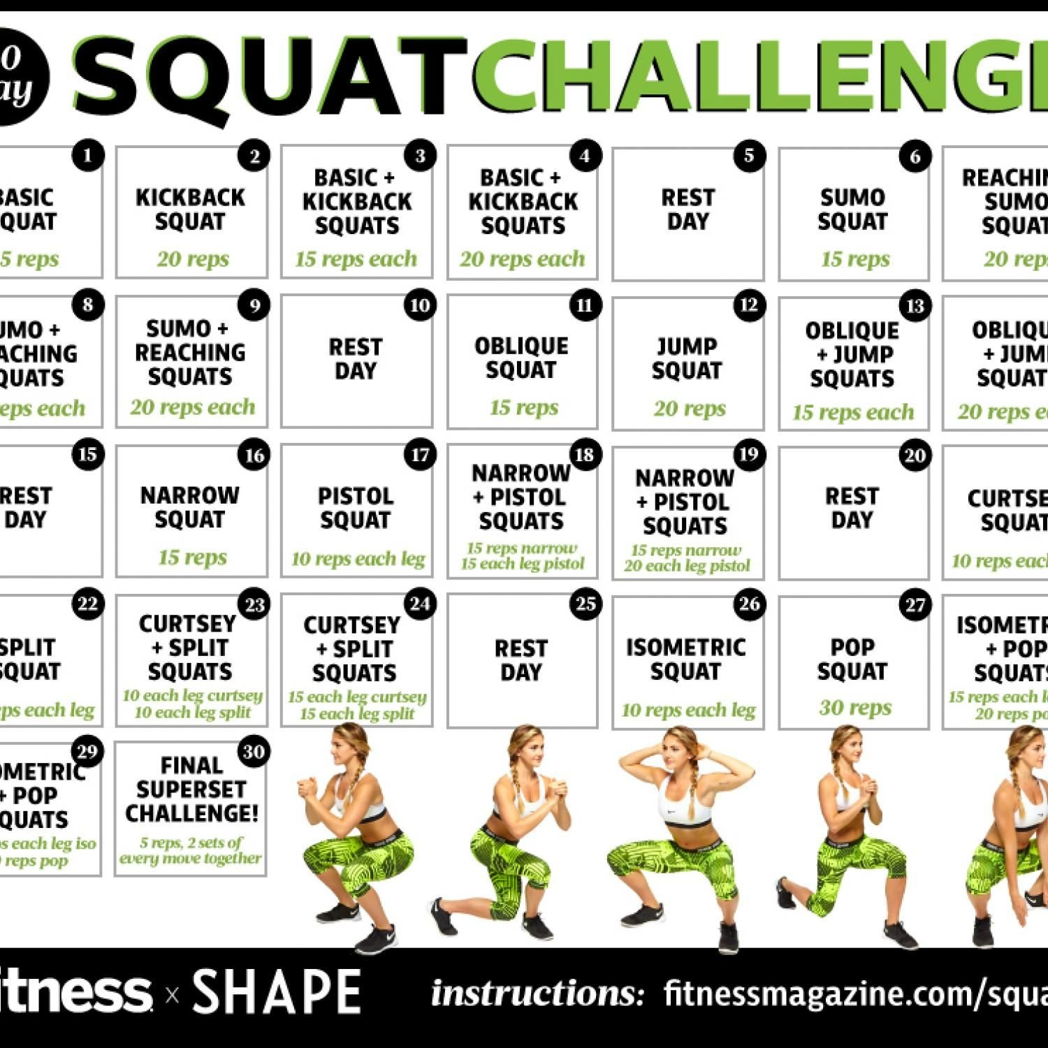 30 Day Squat Challenge Calendar | Printable Calendar 2020-2021 30 Day Squat Challenge Schedule Calendar