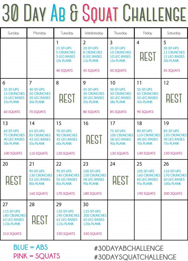 30-Day Squat Challenge Schedule – Calendar Template 2020 Blank 30 Day Caldner Challenge