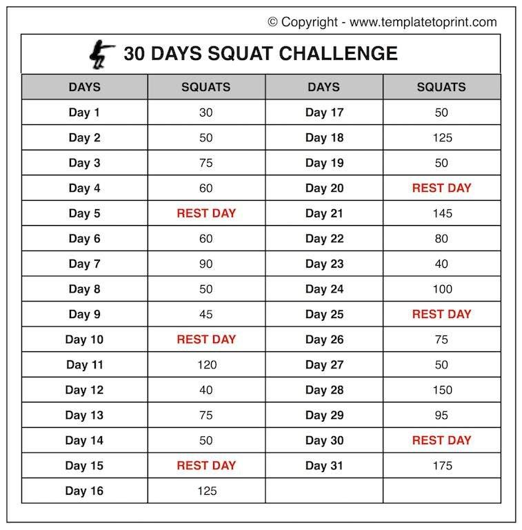 30 Squat Challenge Printable Calendar | Chart | Legs 30 Day Squat Challenge Schedule Calendar
