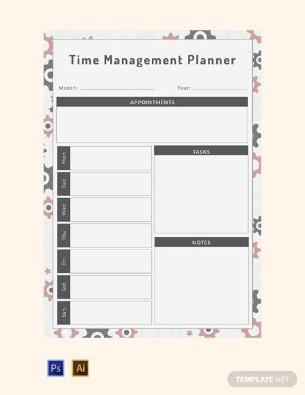 35+ Free Planner Templates - Word | Psd | Indesign | Apple Free Templates For Time Management