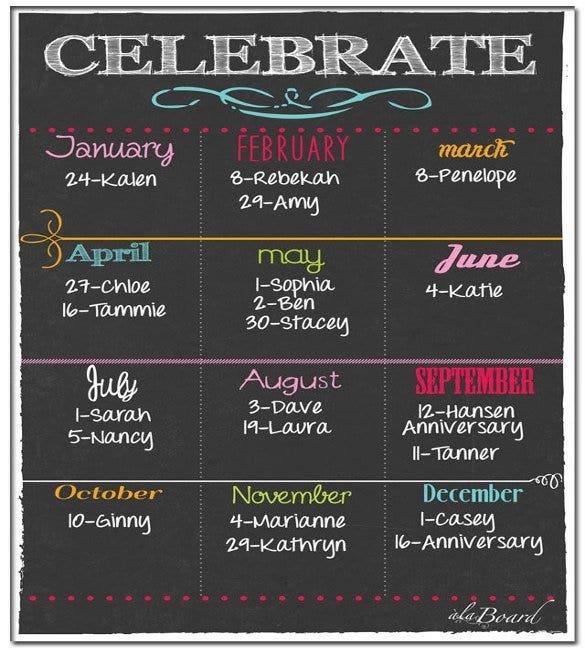 46+ Birthday Calendar Templates - Psd, Pdf, Excel | Free Fillable Birthday Calendar Free