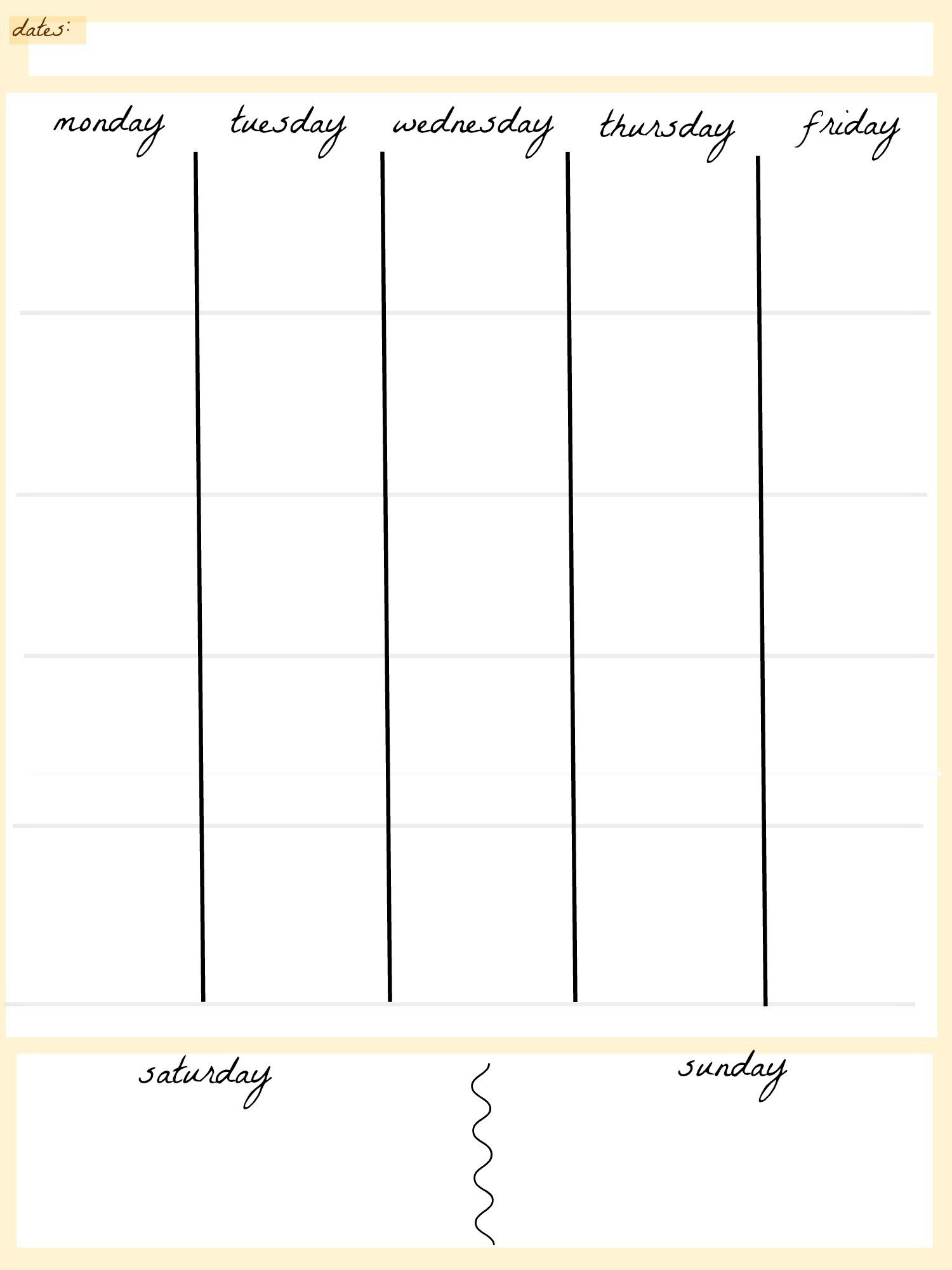 5 Day Week Calendar Template | Example Calendar Printable Blank 4 Week Calendar