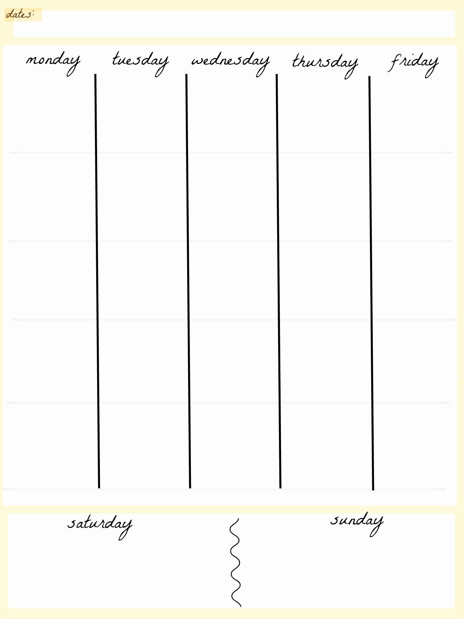 5 Day Week Printable Schedules | Example Calendar Printable Blank 5 Week Calandar