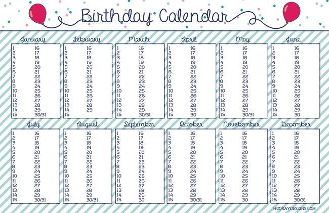 5 Stunning Birthday Calendars For All | Kittybabylove Free Calendar Template For Birthdays