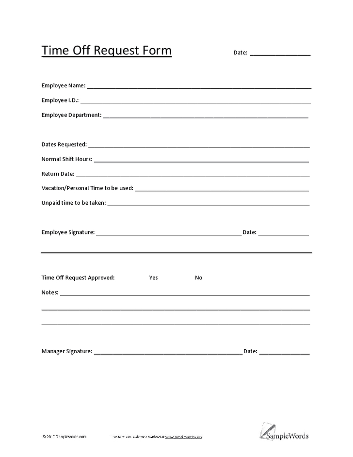 5 Vacation Request Form Templates - Excel Xlts Time Off Template In Excel
