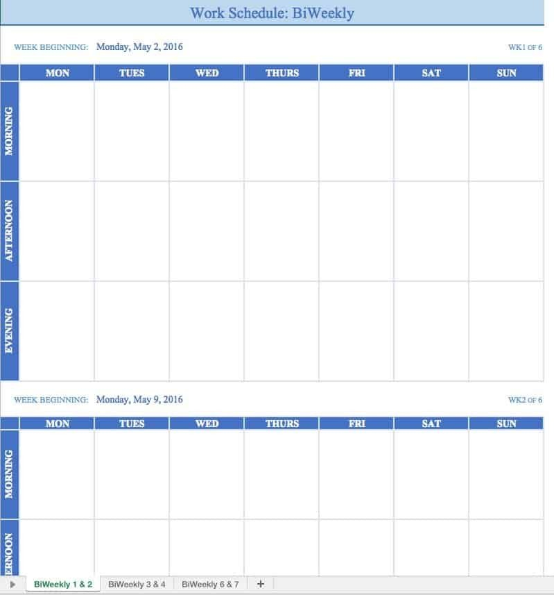5 Week Employee Schedule Template One Checklist That You Editable Two Week Employee Schedule