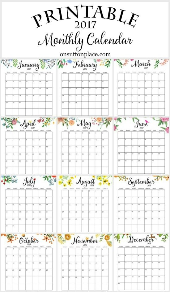 50+ 2017 Free Printable Calendars - Lolly Jane 12 Month Editable Calendar