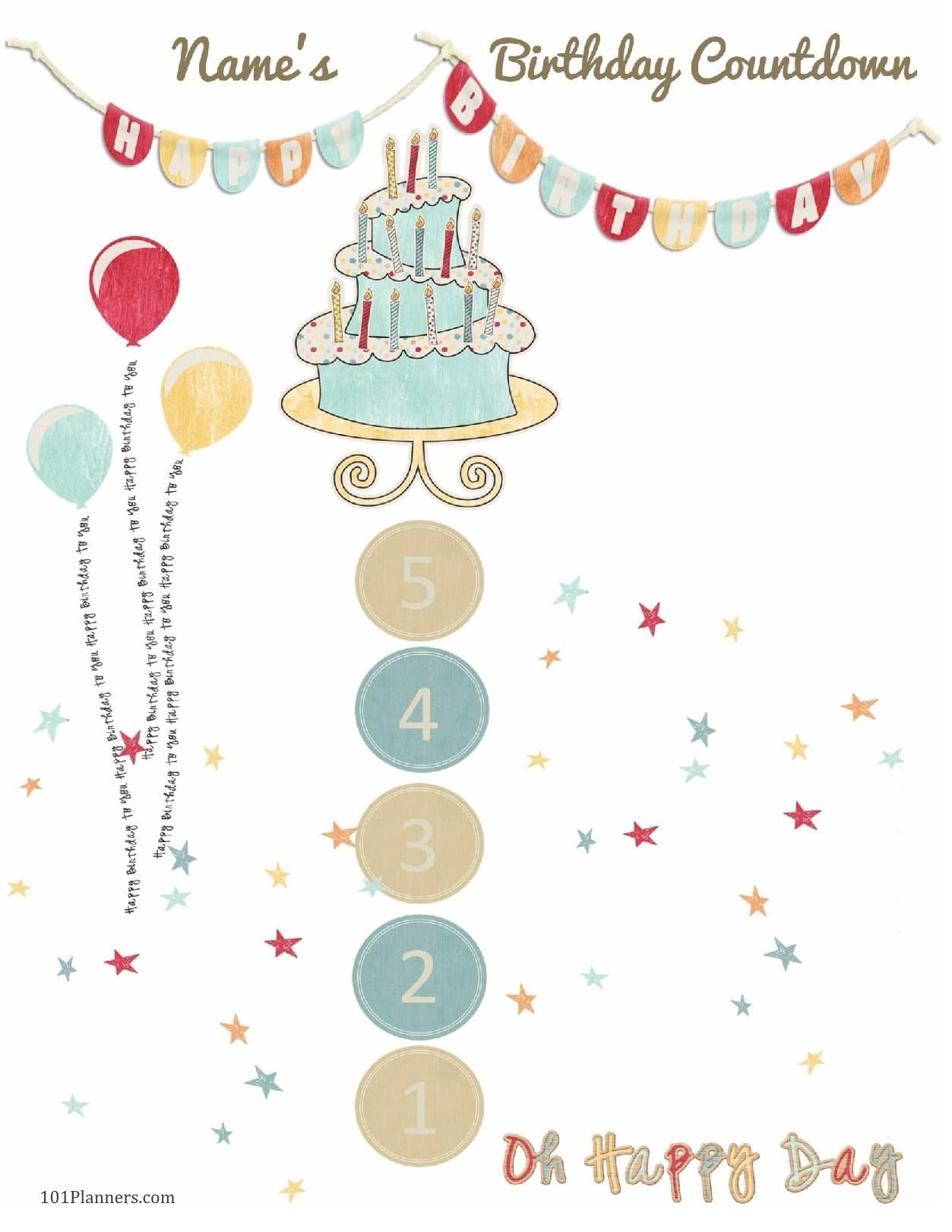 6 Colorful Birthday Countdown Calendars | Kittybabylove Pregnancy Countdown Calendar Printable Free