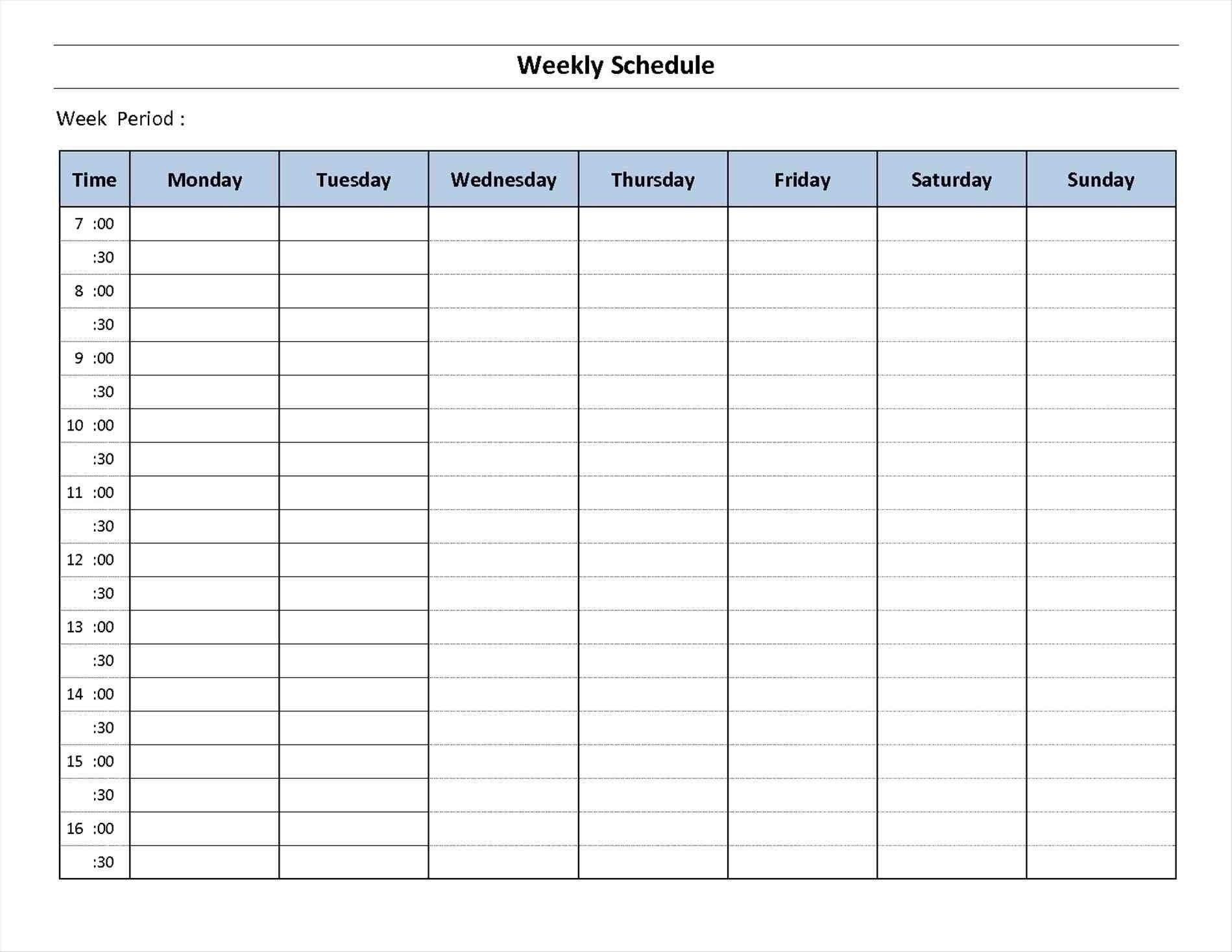 7 Day Week Calendar Printable | Template Calendar Free Daily Calendar Monday Through Friday
