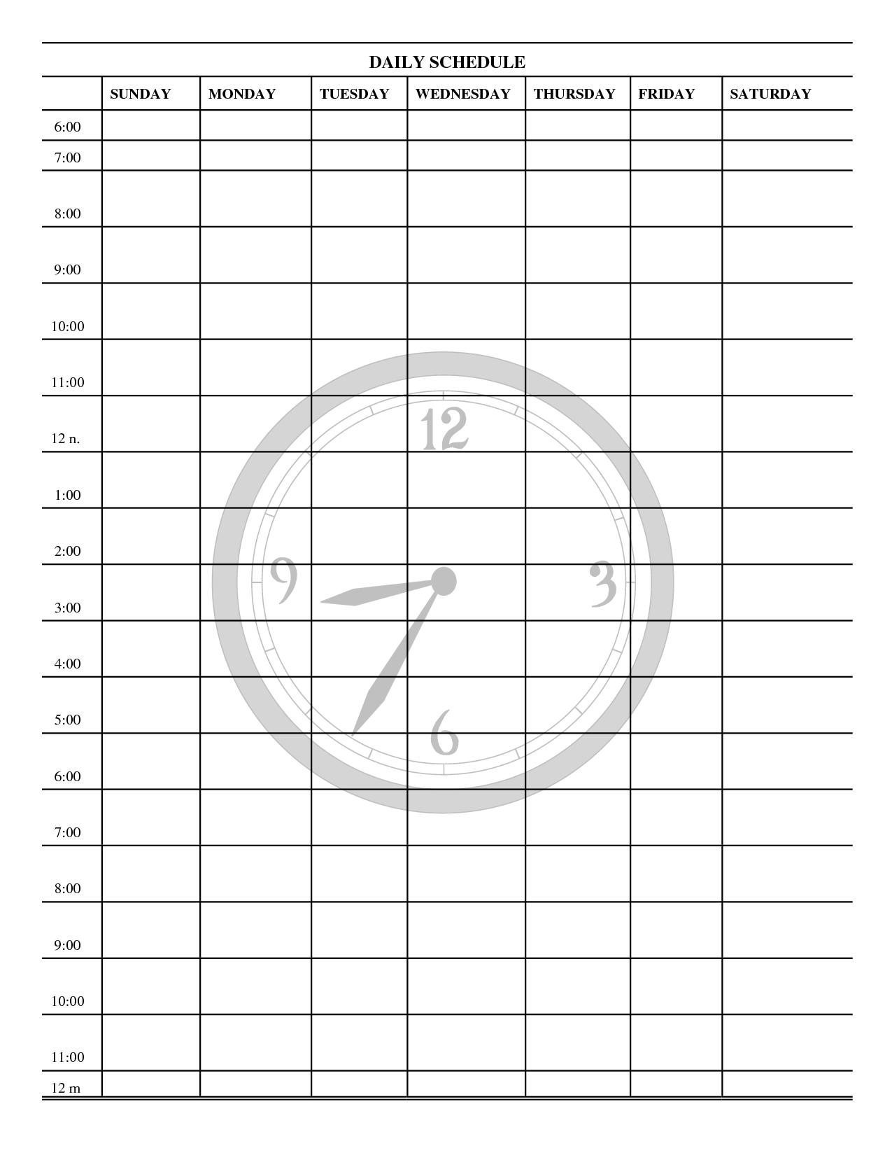 7 Day Weekly Planner Template Printable | Calendar 7 Day Calendar Printable