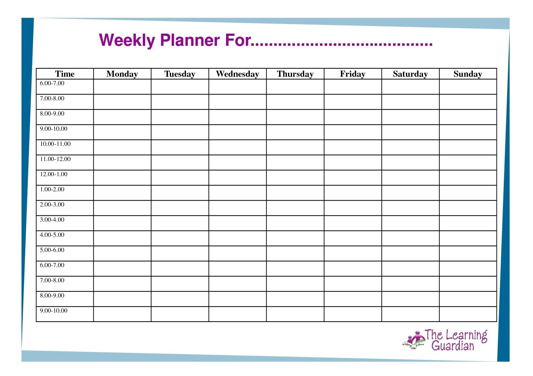 7 Day Weekly Planner Template Printable – Calendar Calendar Template For 7 Days