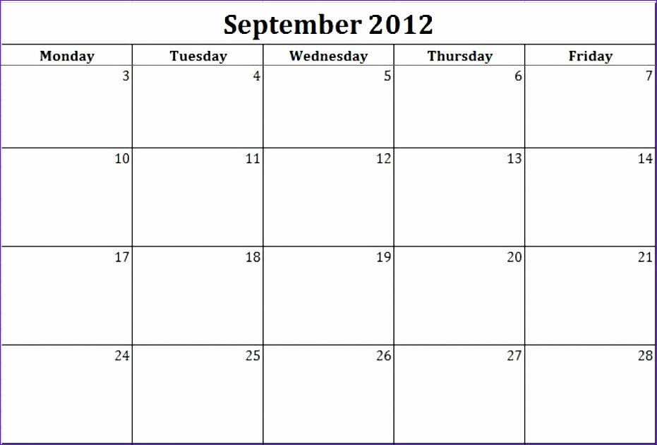 7 Monthly Calendar Schedule Template Excel - Excel Blank Free Printable Monday Through Friday