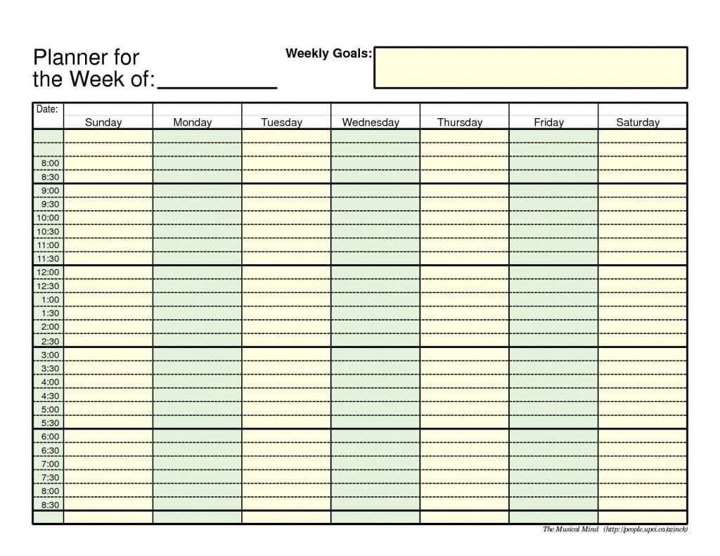 7+ Weekly Planner Templates - Word Excel Pdf Templates Free Weekly Agenda Templates With Time Slots