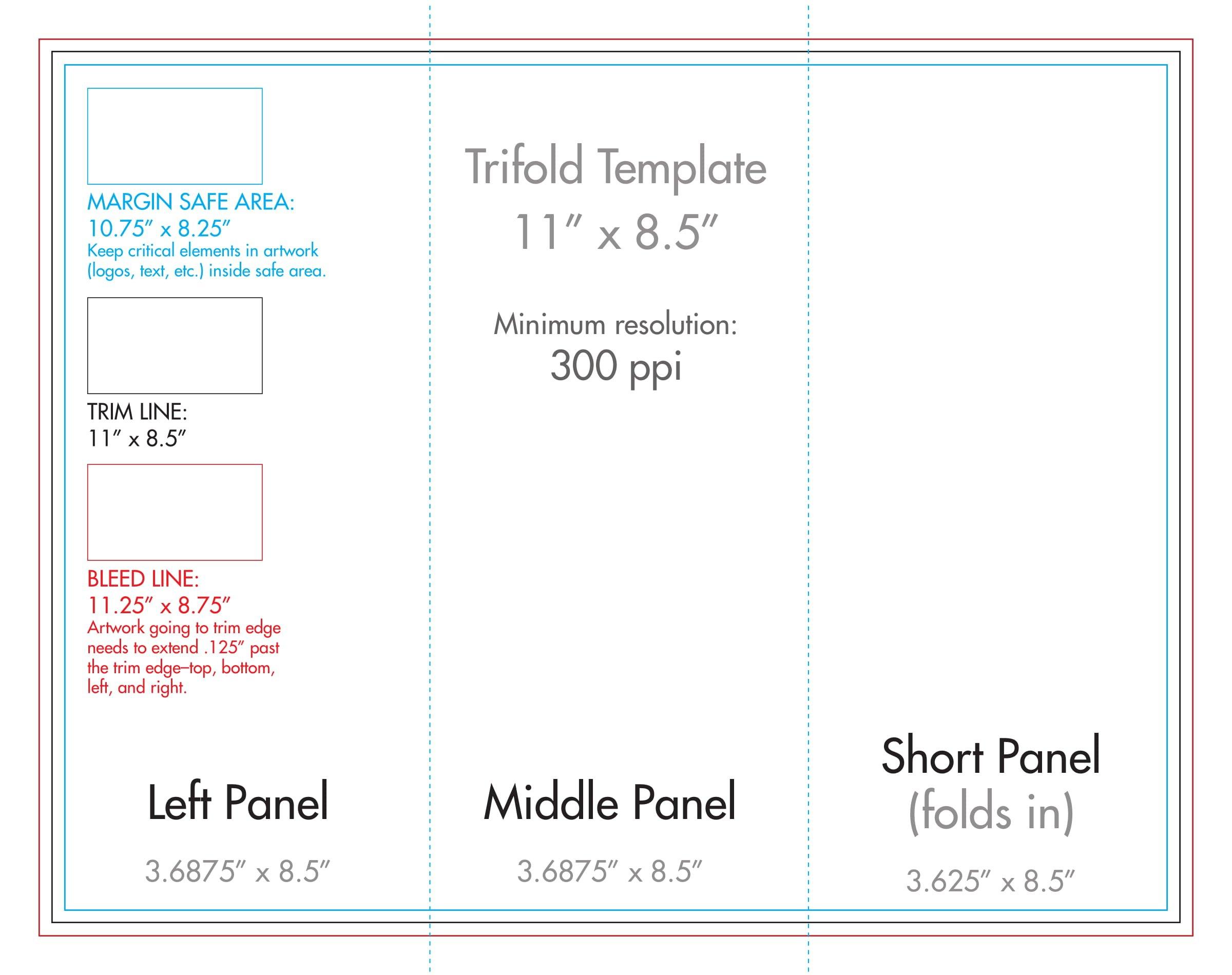 "8.5"" X 11"" Tri Fold Brochure Template - U.s. Press Printable Full Size 8 X 11 Calander"
