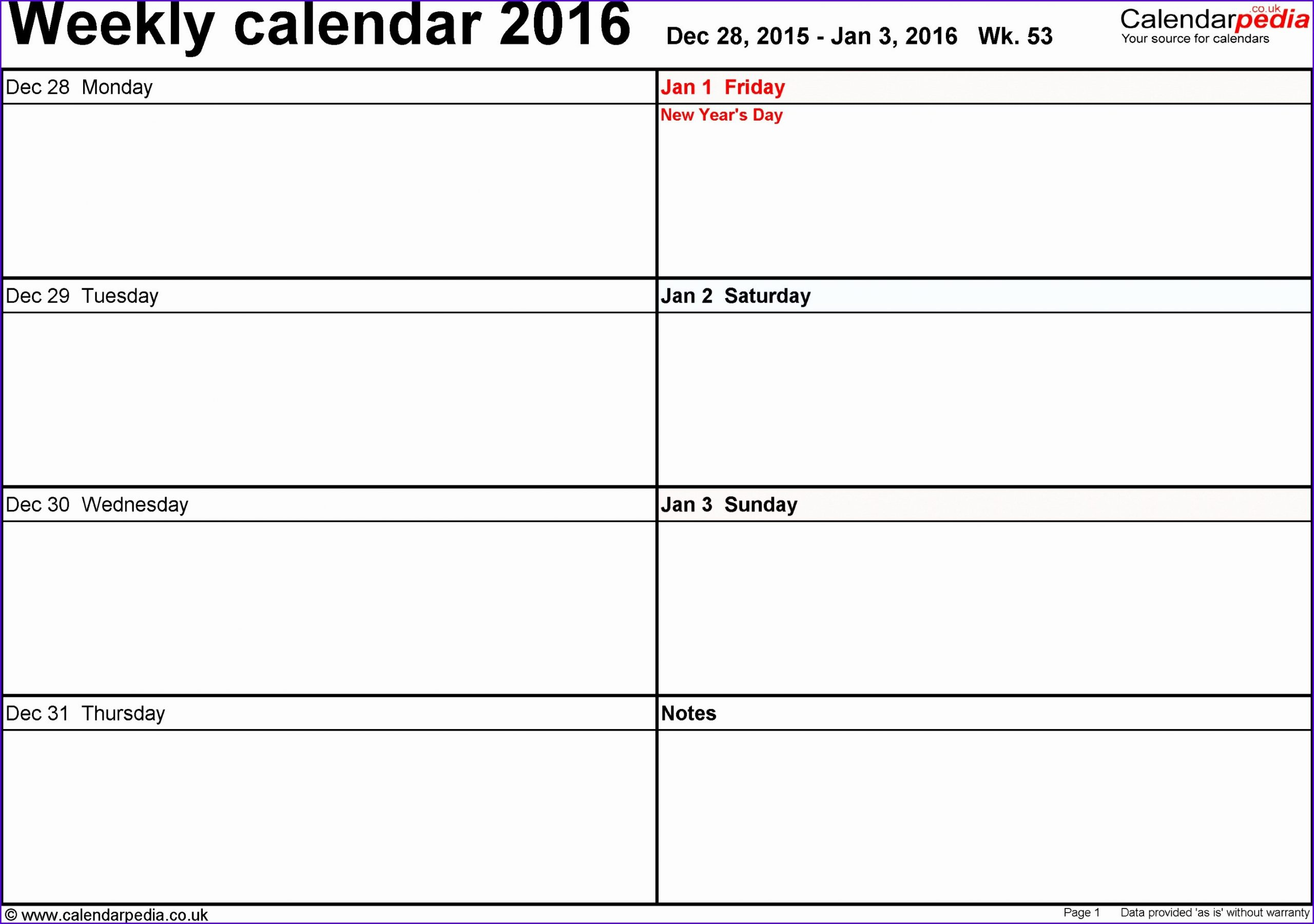 8 Excel Week Calendar Template - Excel Templates - Excel One Week Calendar Template