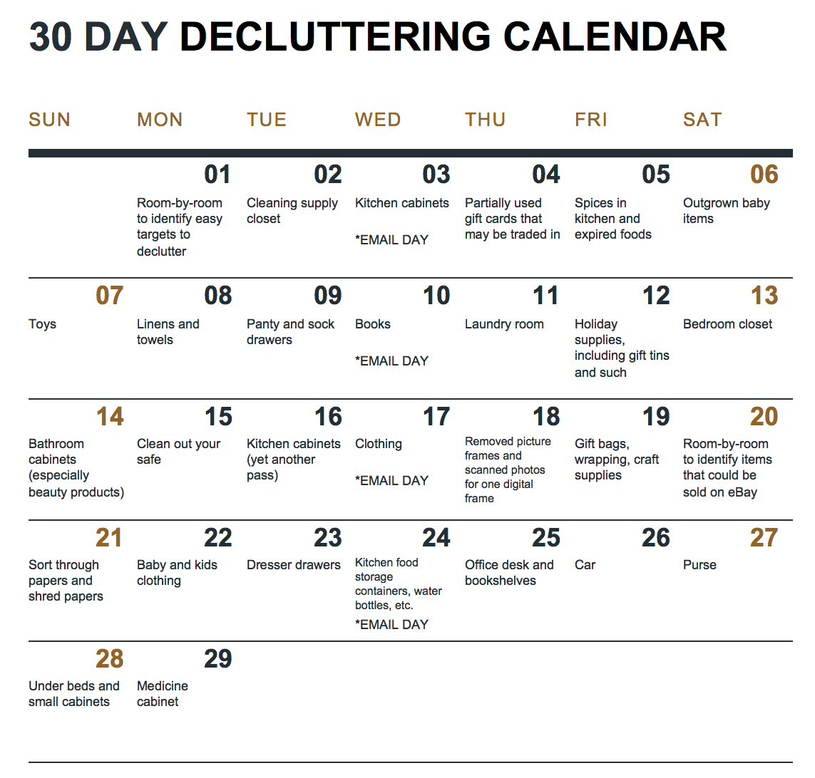 A 30 Day Decluttering Challenge With Calendar And How Free Printable 30 Day Calendar 30 Day