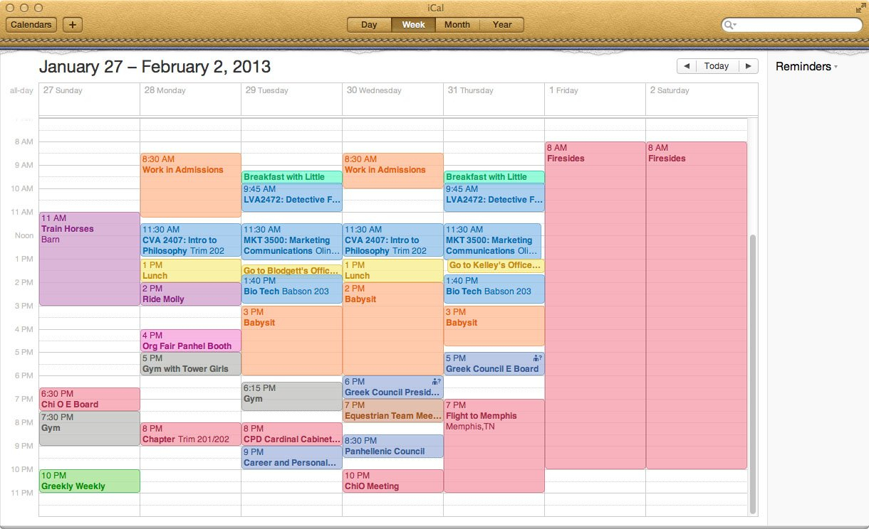 A Typical Week In The Life | Undergraduate Blog | All Color Coded Weekly Schedule