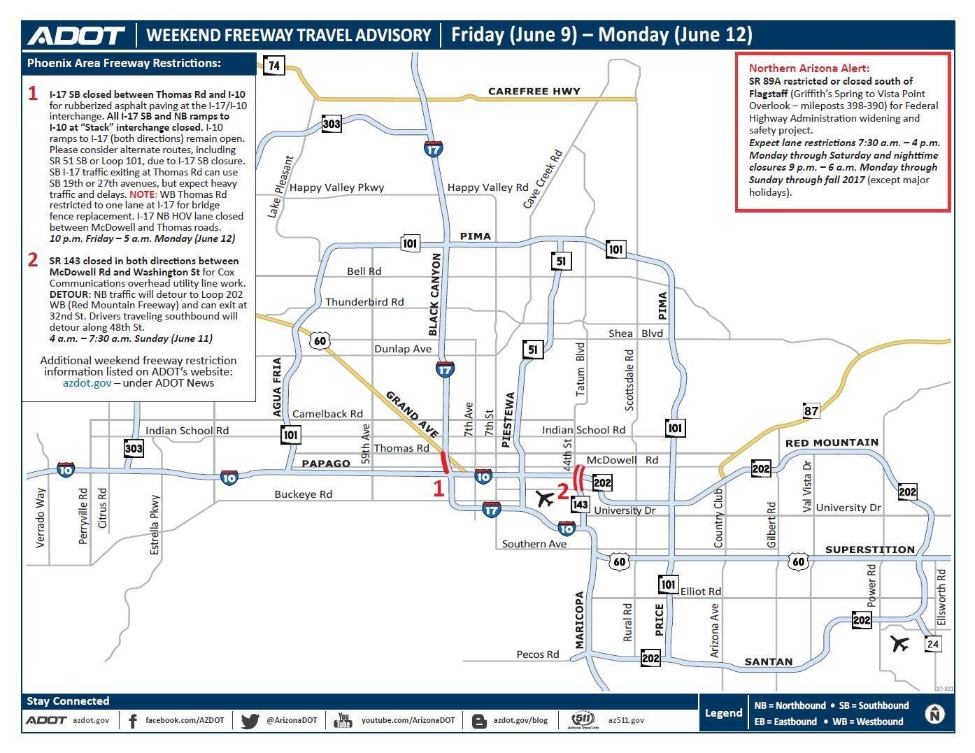 Adot Weekend Freeway Travel Advisory (June 9-12) - Arizona To Do List Mon To Friday 15-19 June