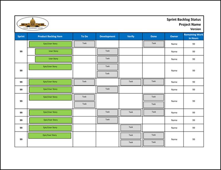 Agile Sprint Backlog Status (Excel) Sprint Calendar Template Excel