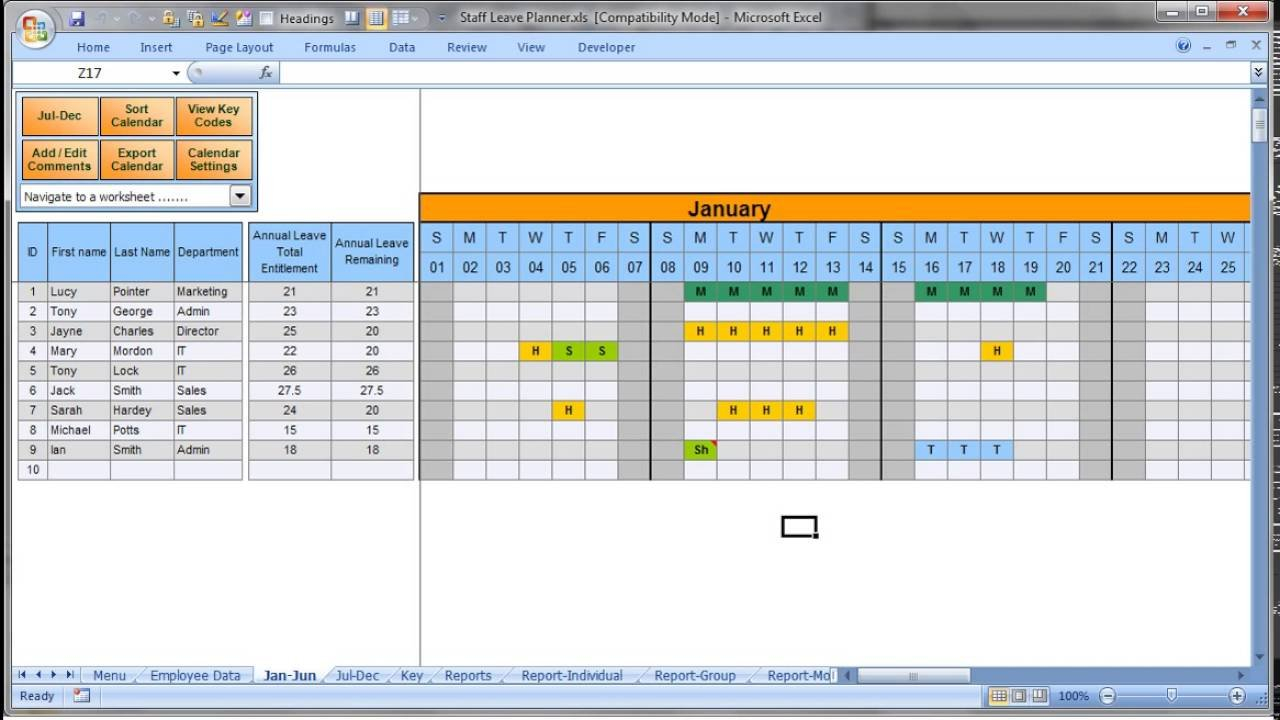 Annually Employee Leave Record Format In Excel 2016 - Youtube Printable Employee Booked Time Off Calendar