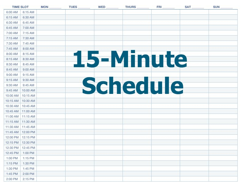 Appointment Schedule Template 15 Minute Increments Blank Calendar Day With Hours