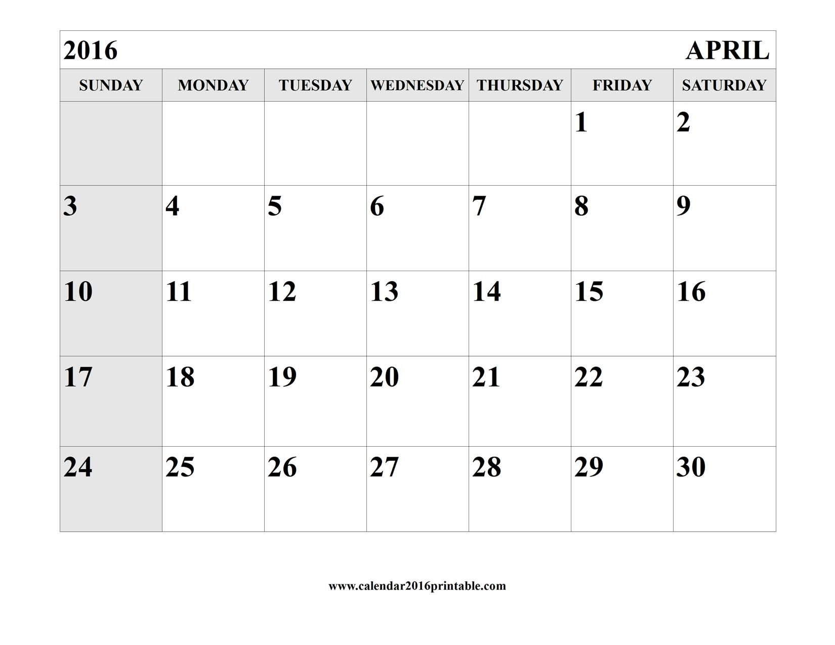 April 2016 Calendar Printable Template | Calendar Template Calanda Templete That I Can Edit