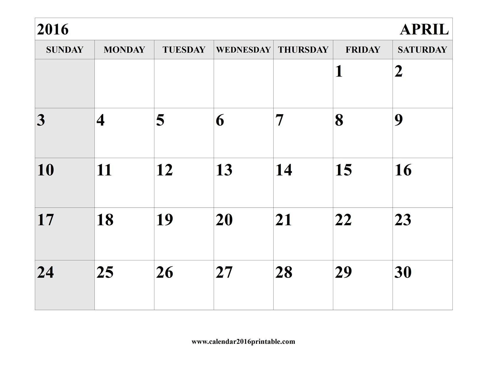 April 2016 Calendar Printable Template | Calendar Template Calendars You Can Edit And Print