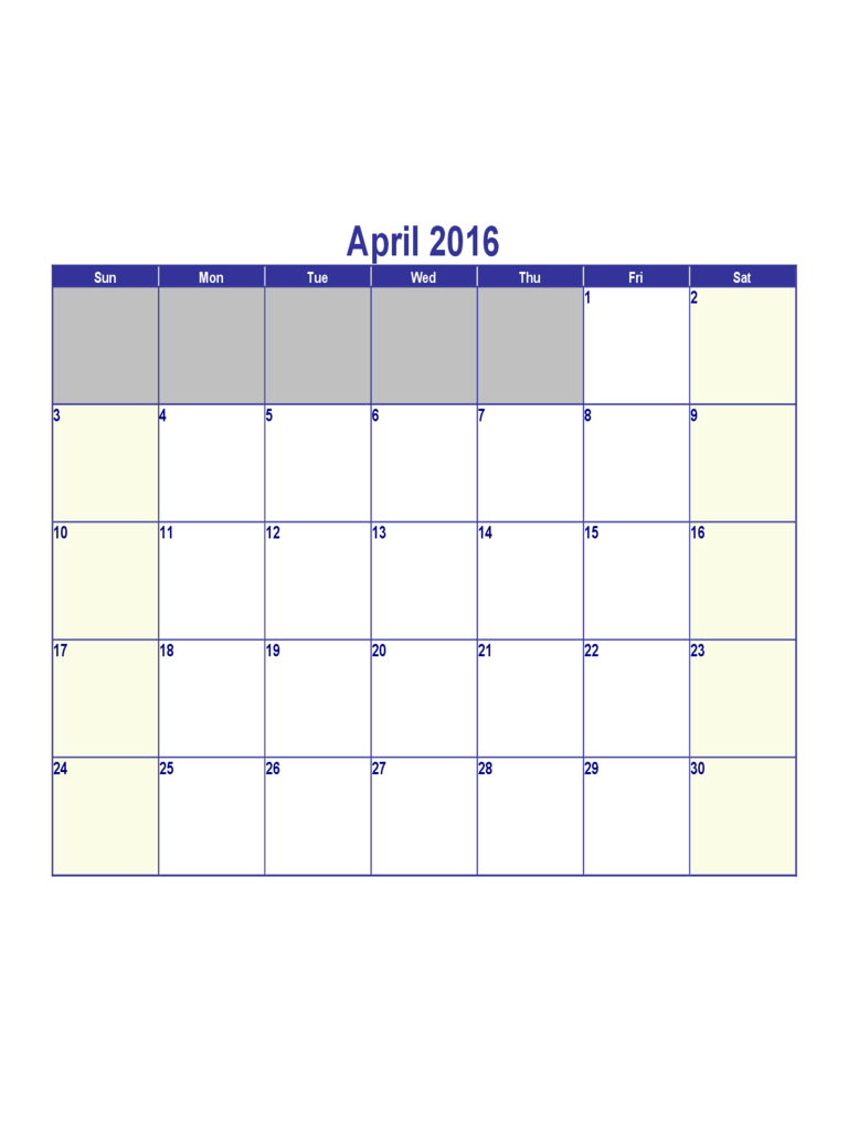 April 2016 Calendar Sample - Edit, Fill, Sign Online April Calendar That Can Be Edit